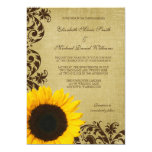 Rustic Sunflower Swirls Wedding Personalized Invite