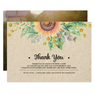 Rustic Sunflower Thank You Wedding Photo Cards