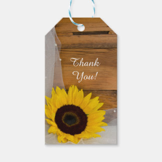 Rustic Sunflower Veil Country Wedding Favor Tags