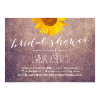 Rustic Sunflower Vintage Bridal Shower 13 Cm X 18 Cm Invitation Card