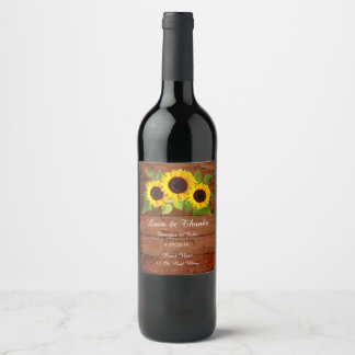Rustic Sunflower Wedding Collection Wine Label