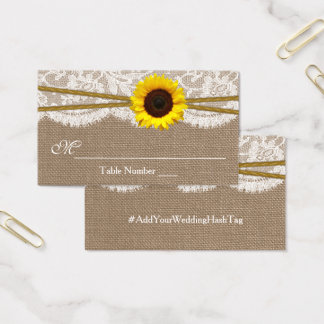 Rustic Sunflower Wedding Escort Cards