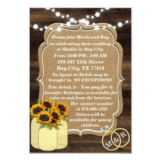 Rustic Sunflower Wooden Lights Wedding Insert Card
