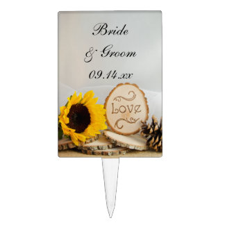 Rustic Sunflower Woodland Wedding Cake Toppers