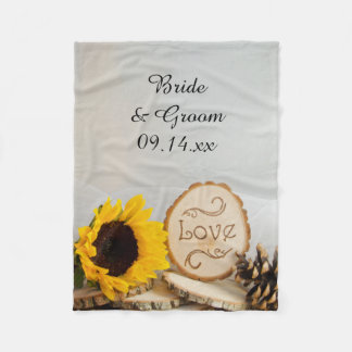 Rustic Sunflower Woodland Wedding Fleece Blanket