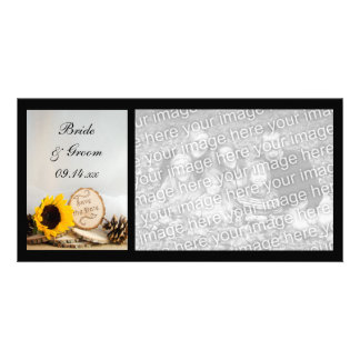 Rustic Sunflower Woodland Wedding Save the Date Customised Photo Card