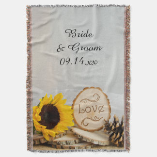 Rustic Sunflower Woodland Wedding Throw Blanket