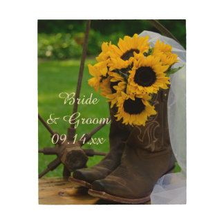 Rustic Sunflowers and Cowboy Boots Western Wedding Wood Wall Decor