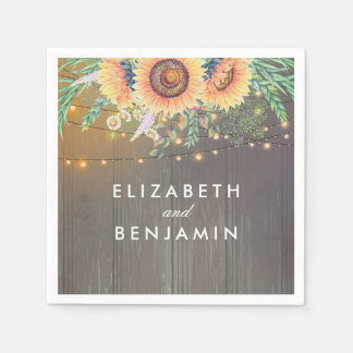 Rustic Sunflowers and String Lights Wood Barn Paper Serviettes