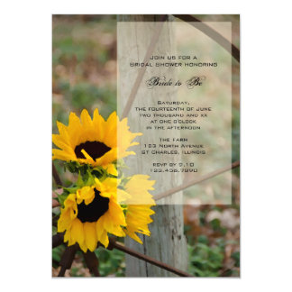 Rustic Sunflowers and Wagon Wheel Bridal Shower Card