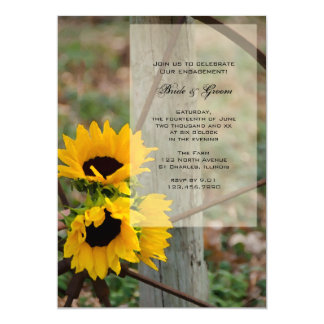 Rustic Sunflowers and Wagon Wheel Engagement Party Card