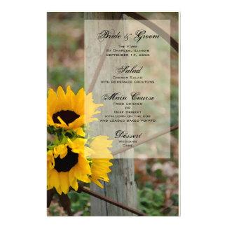 Rustic Sunflowers and Wagon Wheel Wedding Menu