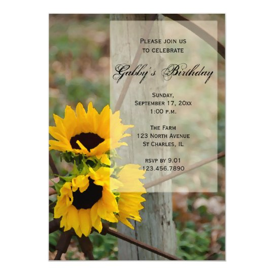 Rustic Sunflowers Birthday Party Invitation