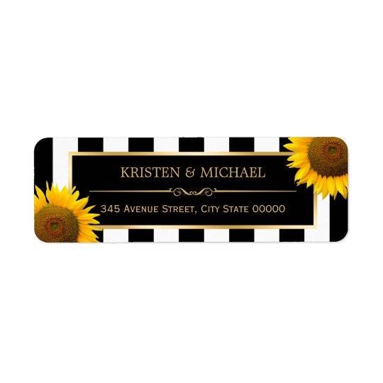 Rustic Sunflowers Black White Stripes RSVP Return Address Label