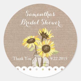 Rustic Sunflowers Bridal Shower Sticker