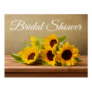 Rustic Sunflowers Bridal Shower Yellow Flowers Postcard
