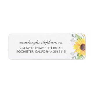Rustic Sunflowers Country Wedding Return Address Label