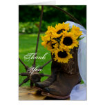 Rustic Sunflowers Country Wedding Thank You Note