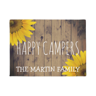Rustic Sunflowers Country Wood Happy Campers Name Doormat