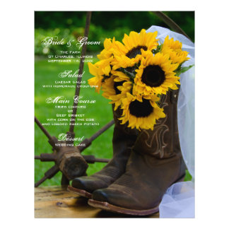 Rustic Sunflowers Cowboy Boot Country Wedding Menu 21.5 Cm X 28 Cm Flyer