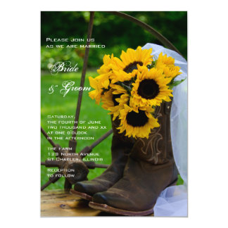 Rustic Sunflowers Cowboy Boots Country Wedding 13 Cm X 18 Cm Invitation Card