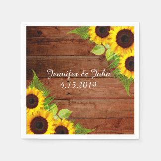 Rustic Sunflowers Fern Wedding Collection Napkins Disposable Napkin