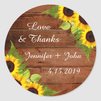 Rustic Sunflowers Fern Wedding Stickers