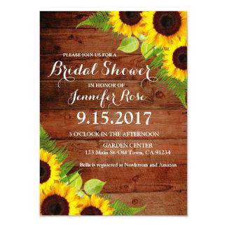 Rustic Sunflowers Fern Wood Bridal Shower Invites