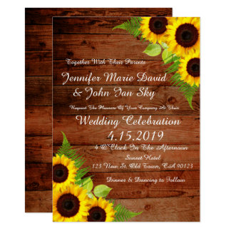 Rustic Sunflowers Green Fern  Wedding Invitation
