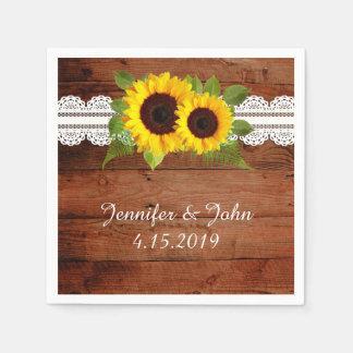 Rustic Sunflowers Lace Wedding Collection Napkins Disposable Serviettes