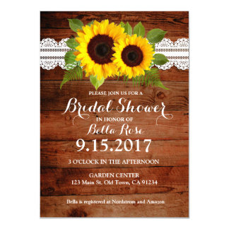Rustic Sunflowers Lace Wood Bridal Shower Invites