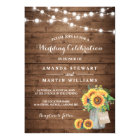 Rustic Sunflowers Mason Jar String Lights Wedding Card