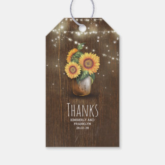 Rustic Sunflowers Mason Jar Wedding Gift Tags