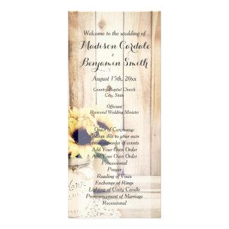 Rustic Sunflowers Mason Jar Wedding Programs Personalised Rack Card