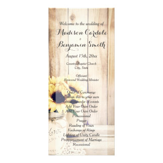 Rustic Sunflowers Mason Jar Wedding Programs Rack Card