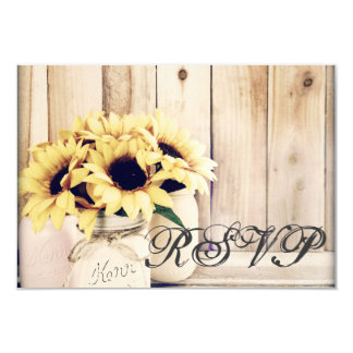 Rustic Sunflowers Mason Jar Wedding RSVP Cards 9 Cm X 13 Cm Invitation Card