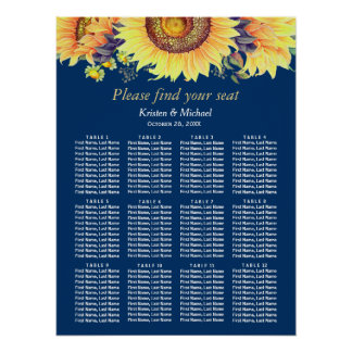 Rustic Sunflowers Navy Blue Wedding Seating Chart