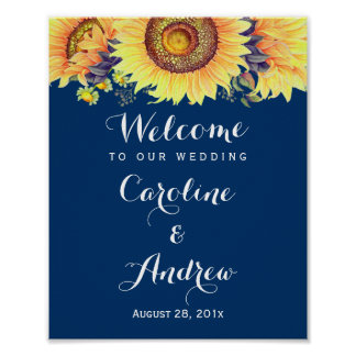 Rustic Sunflowers Navy Blue Welcome Wedding Sign