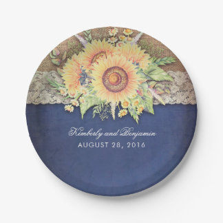 Rustic Sunflowers Navy Wedding Paper Plate