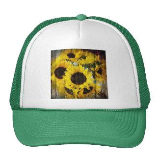 Rustic Sunflowers on Barnwood Cap