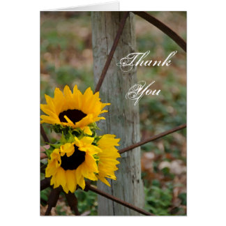 Rustic Sunflowers Wagon Wheel Country Thank You Card
