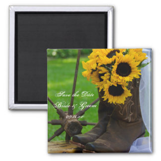 Rustic Sunflowers Wedding Save the Date Magnet