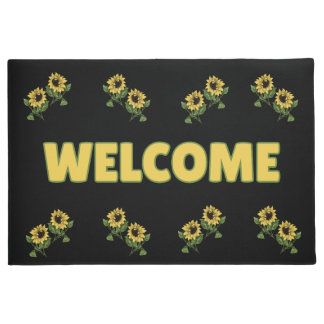 Rustic Sunflowers Welcome by mcful  Doormat