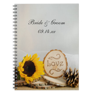 Rustic Sunflowers Woodland Wedding Spiral Notebook
