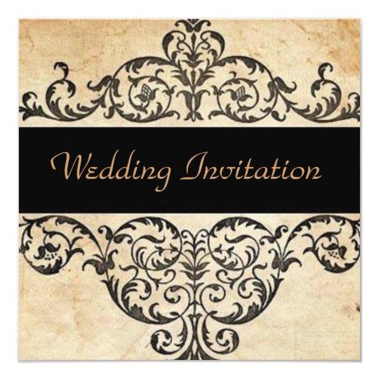 rustic swirls western country wedding card