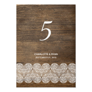 Rustic table number card on wood with lace