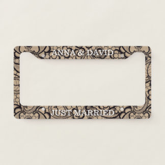 Rustic Tan Brown Burlap with Wedding Lace Overlay Licence Plate Frame
