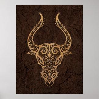 Rustic Taurus Zodiac Sign on Stone Effect