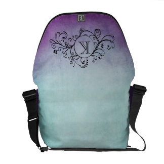 Rustic Teal and Purple Bohemian  Flourish Commuter Bag