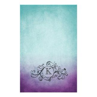 Rustic Teal and Purple Bohemian  Flourish Stationery Design
